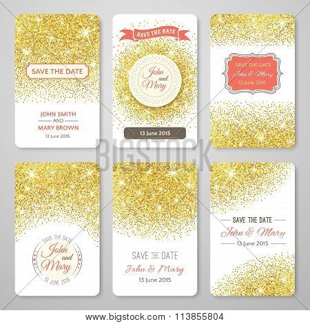 Set of perfect wedding templates with golden confetti theme