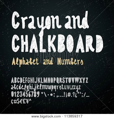 Chalk hand drawing alphabet and numbers, vector illustration.