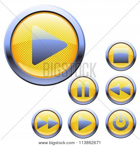 set yellow color icons for media player