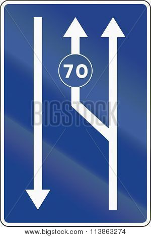 Road sign used in Spain - Lanes for traffic based on the posted speed. poster