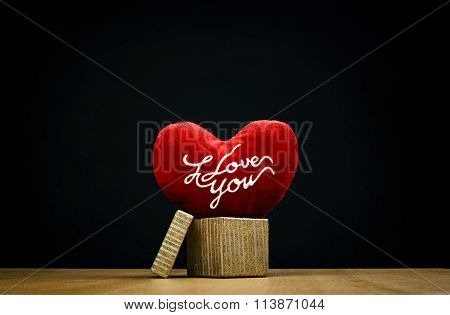 I Love You Message On Red Velour Heart