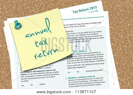 Sa100 Tax Form With Note Anuual Tax Return Text Pinned To Cork Board
