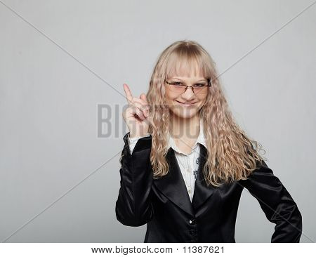 Funny business woman in a black suit