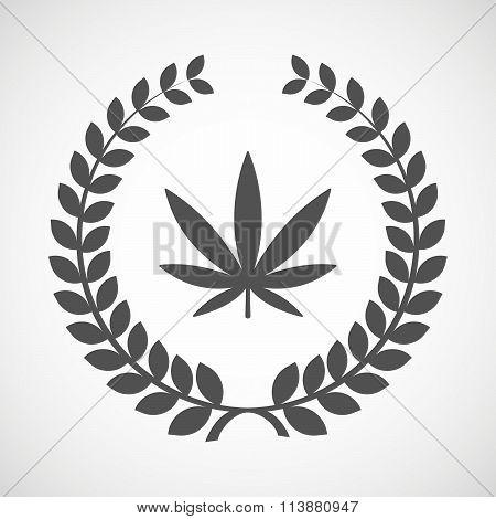 Isolated Laurel Wreath Icon With A Marijuana Leaf