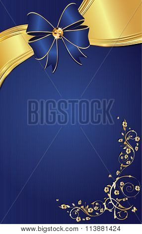 Floral decorative blue background with ribbon.