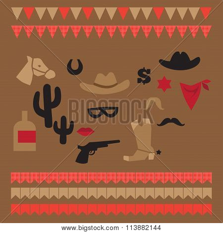 Printable set of vintage cowboy party elements