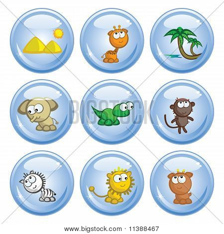 A set of buttons. Images comic African animals. Isolated. poster