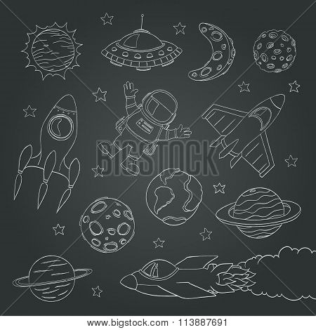 Set Of Cute Outer Space Elements