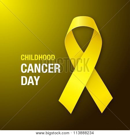 Childhood Cancer Day.  Awareness Yellow Ribbon.