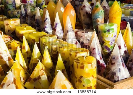 Assorted Colorful Yellow Wax Candles In A Shop