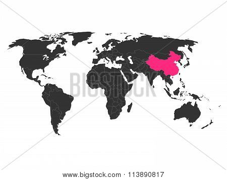 World Map With Highlighted China