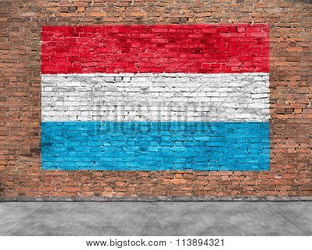 Flag Of Luxembourg And Foreground