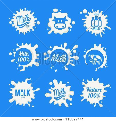 Milk Logo and Labels Designs with Lettering. Vector Collection