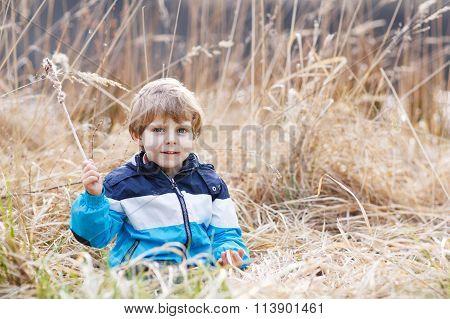Little boy having fun with bulrush near forest lake