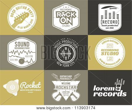 Set of vector music production logo Musical label icons. Music sticker and emblem print or logotype
