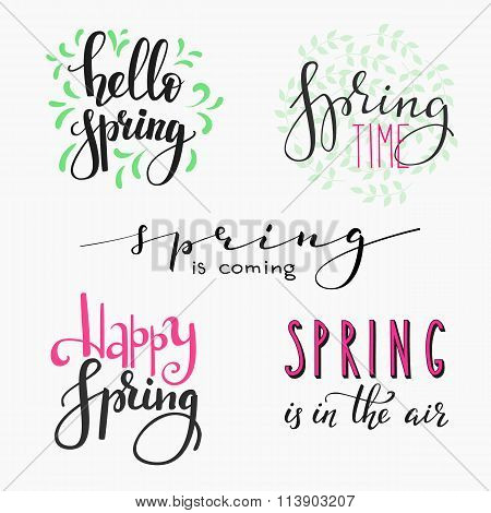 Hello Spring Lettering Typography