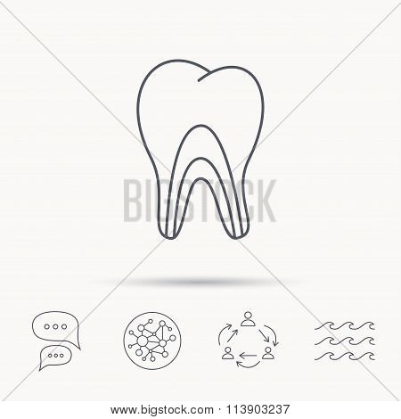 Dentinal tubules icon. Tooth medicine sign.