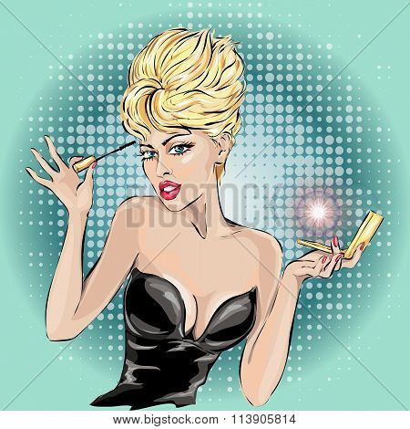 Illustration Of A Pinup Girl Applying Mascara On Her Lashes