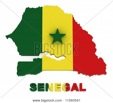 Senegal, Map with Flag, Isolated on White with Clipping Path