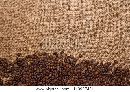 coffee beans burlap fabric