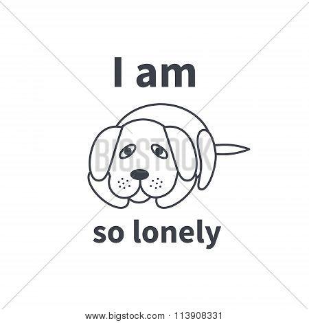 Sad lonely dog line icon