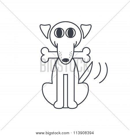 Happy dog with a bone