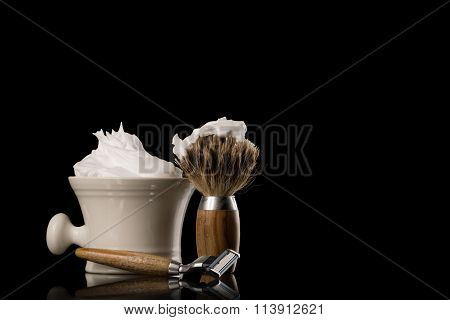 Shaving Equipment On Wooden Table And Black Background