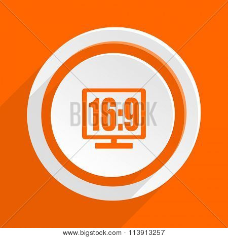 16 9 display orange flat design modern icon for web and mobile app