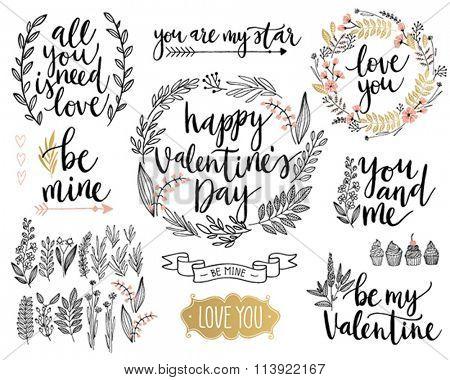 Valentine`s Day Lettering Design Set - hand drawn Vector illustration.