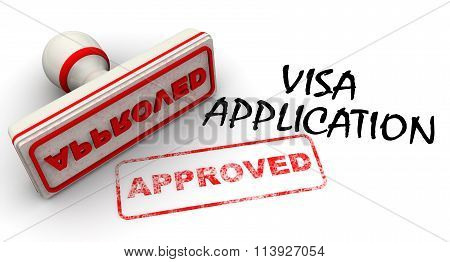 Visa application approved. Seal and imprint