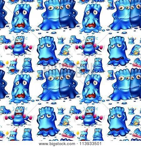 Seamless blue monster doing activities illustration