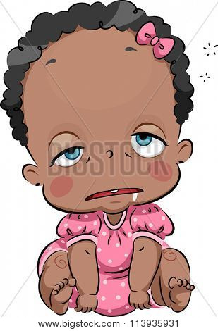Illustration of a Cute African Baby Dozing Off