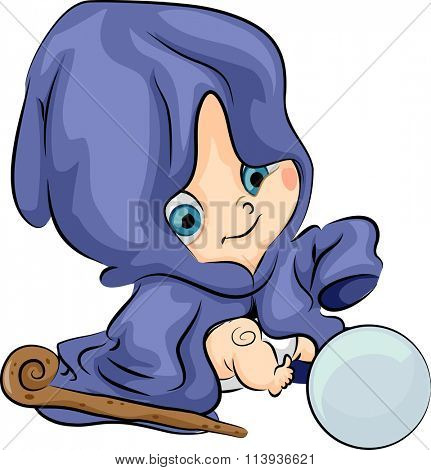 Illustration of a Baby Wizard Checking a Crystal Ball