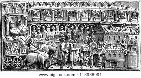 Byzantine ivory treasure of the Cathedral of Trier, vintage engraved illustration. Magasin Pittoresque 1880.
