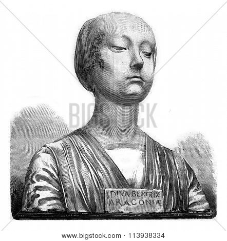 Beatrice of Aragon, marble bust of the fifteenth century, vintage engraved illustration. Magasin Pittoresque 1880.