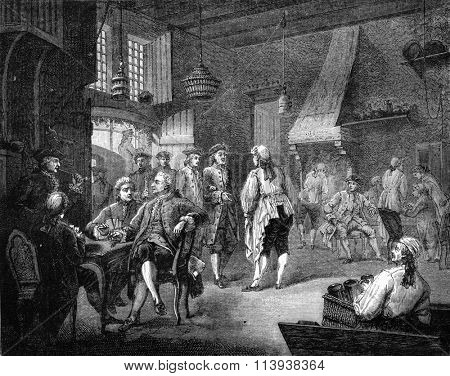 Cabaret in the eighteenth century, under Louis XV, Musee du Luxembourg, vintage engraved illustration. Magasin Pittoresque 1880.