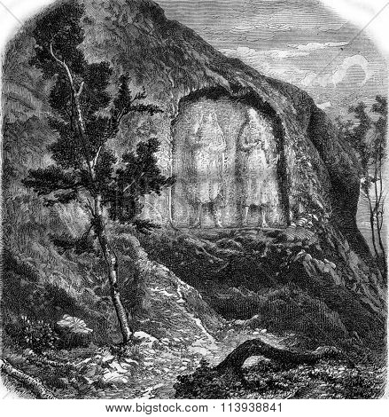 Low relief of the rock Altlinster, vintage engraved illustration. Magasin Pittoresque 1880.