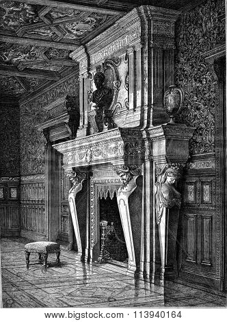 Castle of Saint-Roch, Tarn et Garonne, Fireplace of the living room, vintage engraved illustration. Magasin Pittoresque 1876.