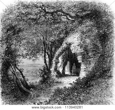 The Ardennes. The Oratory of St. Remacle, vintage engraved illustration. Magasin Pittoresque 1873.