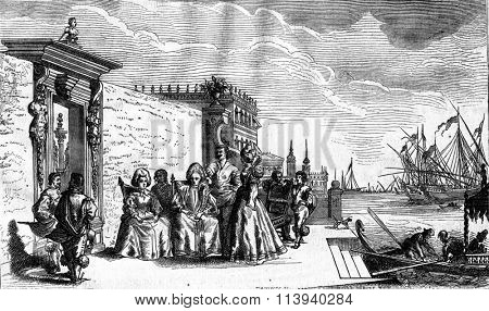 Talk to the waterfront in Venice, in the seventeenth century, vintage engraved illustration. Magasin Pittoresque 1876.