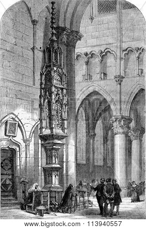 Tabernacle of the Church of Semur, vintage engraved illustration. Magasin Pittoresque 1873.