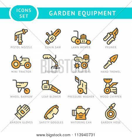 Set Line Icons Of Garden Equipment