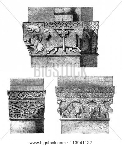 Capitals in the church of St. Ambrose in Milan, vintage engraved illustration. Magasin Pittoresque 1870.