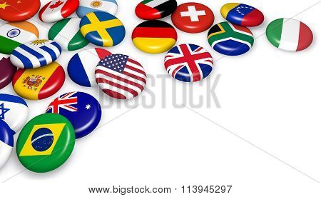 International World Flags Badges
