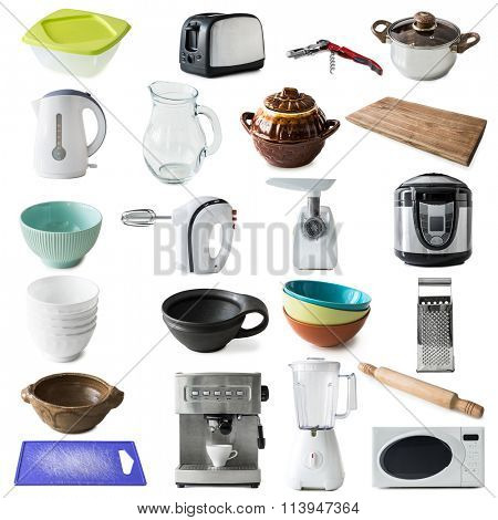 collage of different kinds of kitchen appliances and ware isolated on white background