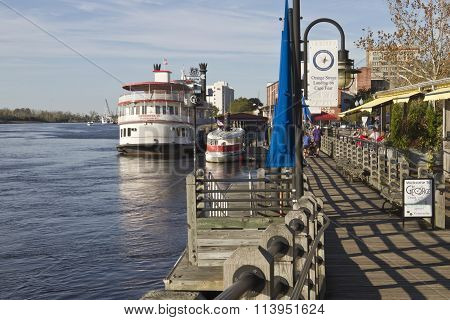 Water Street Boardwalk In Wilmington, Nc