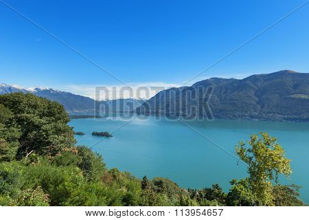 Panoramic of Lake Maggiore in Ticino, Switzerland