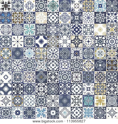 Gorgeous floral patchwork design. Colorful Moroccan or Mediterranean square tiles, tribal ornaments. For wallpaper print, pattern fills, web background, surface textures.  Indigo blue white teal aqua poster