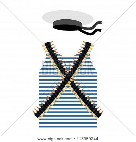 Striped Vest Shirt-clothing Sailor Man. Tape With Bullets. Cartridge Belt Bandoleer. Peakless Hat Ca