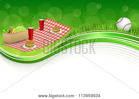 Background abstract green grass picnic basket hamburger drink vegetables baseball ball frame